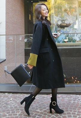 메리미 배색 코트